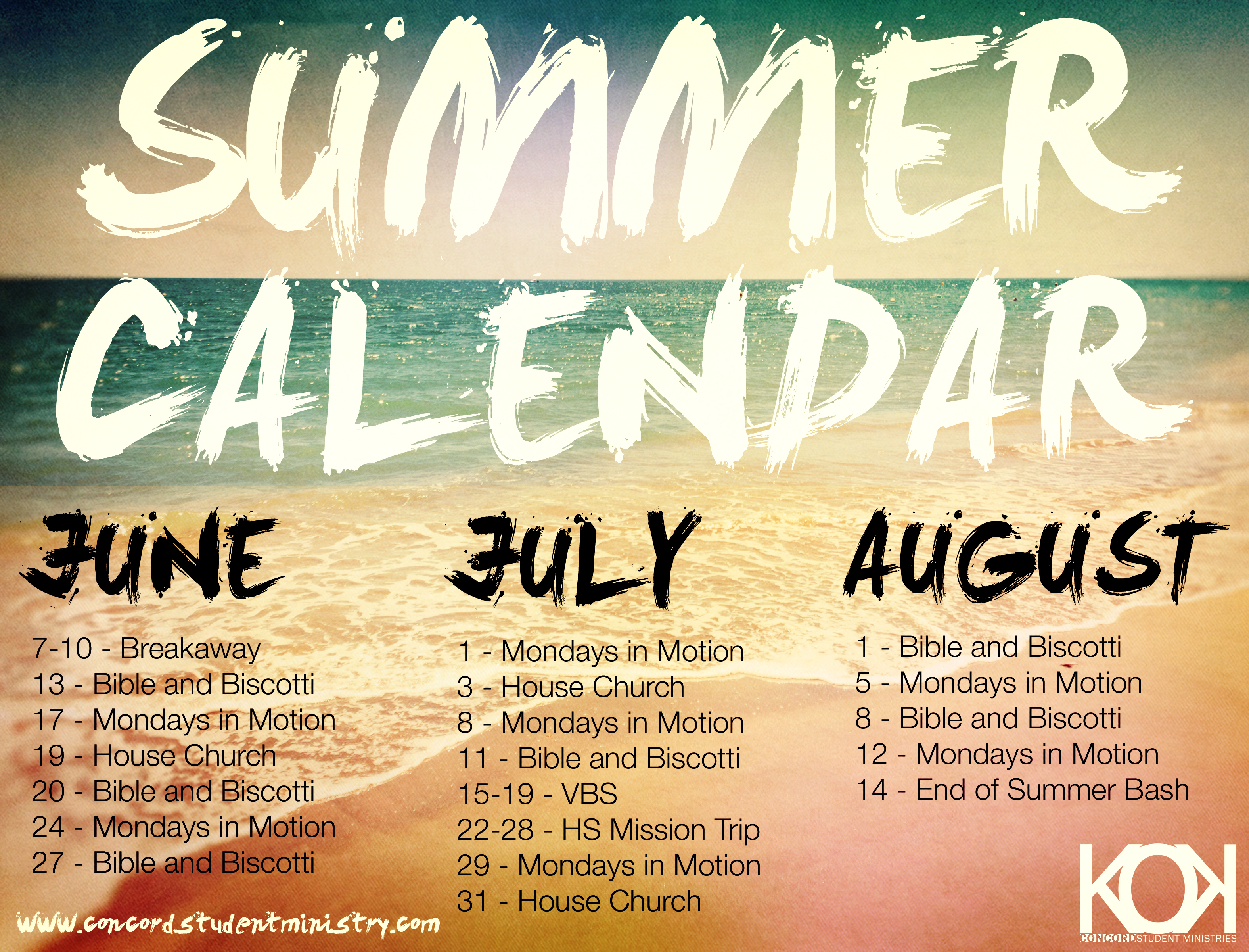 Summer Calendar Concord Student Ministry